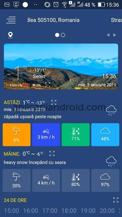 Prognoza meteo, cea mai bună aplicație pentru starea vremii Android