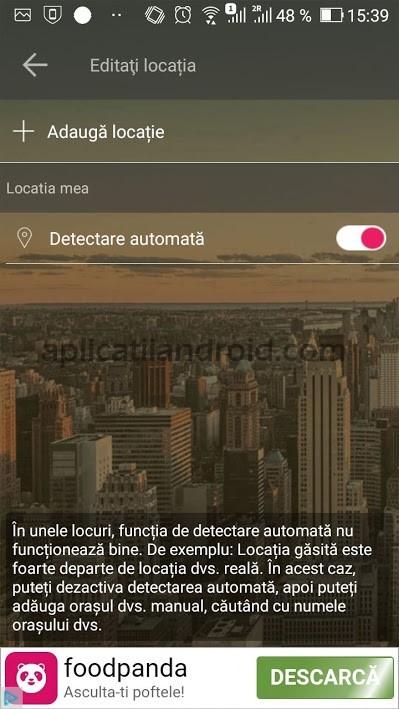 Prognoza meteo Android