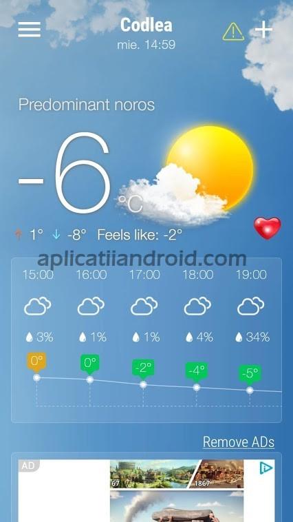 Weather Forecast, o aplicație meteo Android bună și gratis
