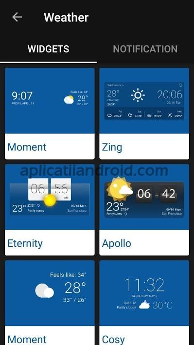 Weather Forecast, aplicație starea vremii cu widget vremea pe ecran