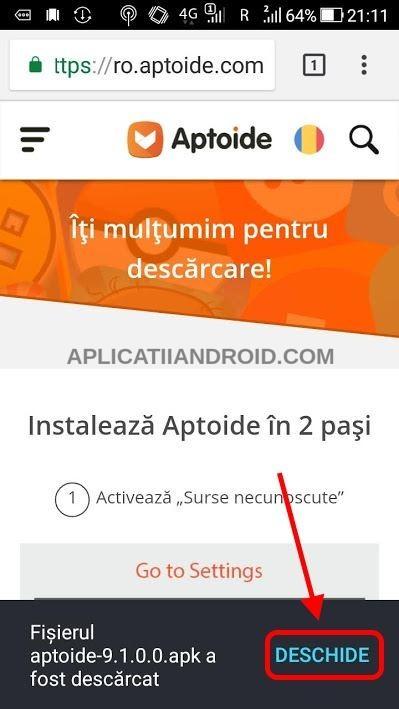 descarca aptoide pe telefon android
