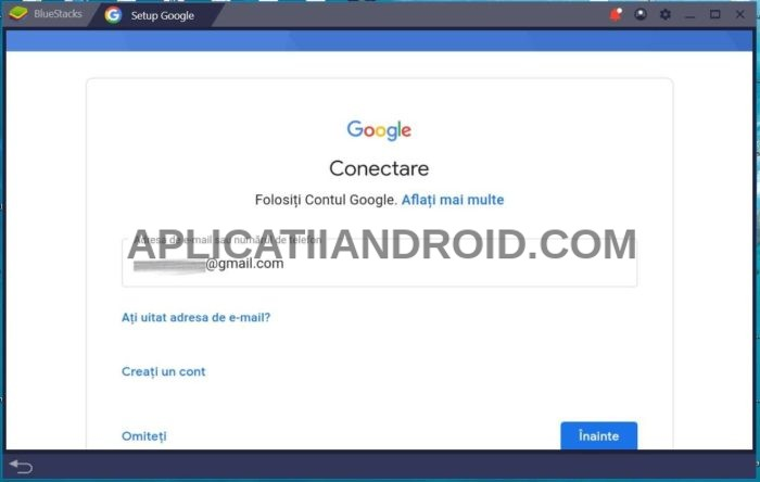 Bluestacks, conectare cont Google