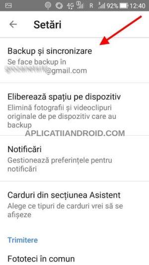 Setare backup poze Google Foto