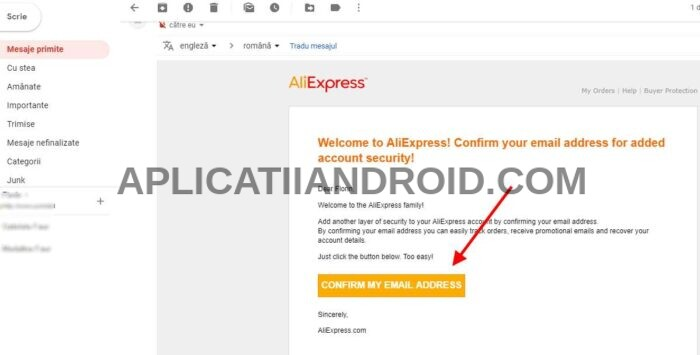 confirmare email aliexpress